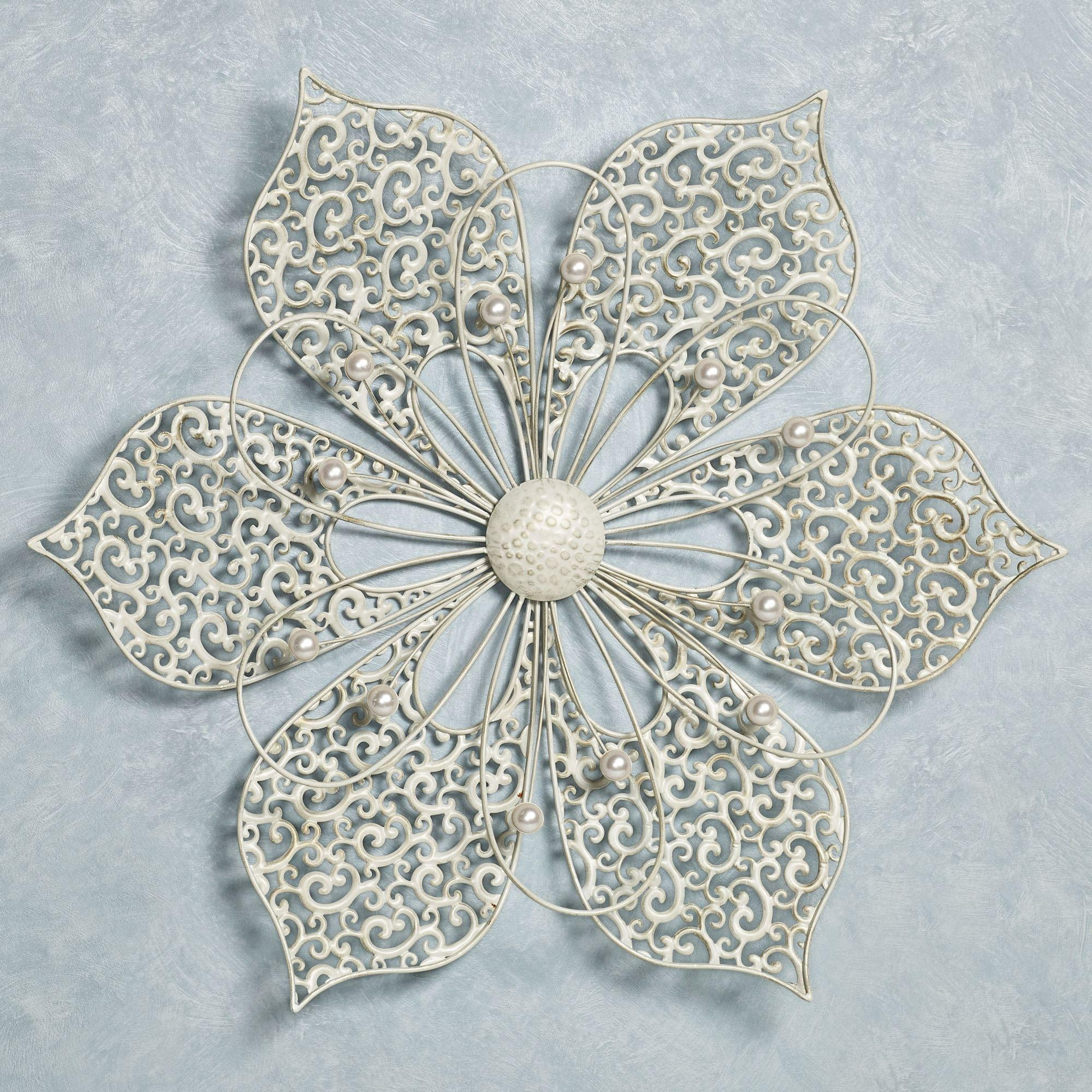 Pretty Petals Ivory Flower Metal Wall Art Pertaining To Fetco Home Decor Wall Art (View 17 of 20)