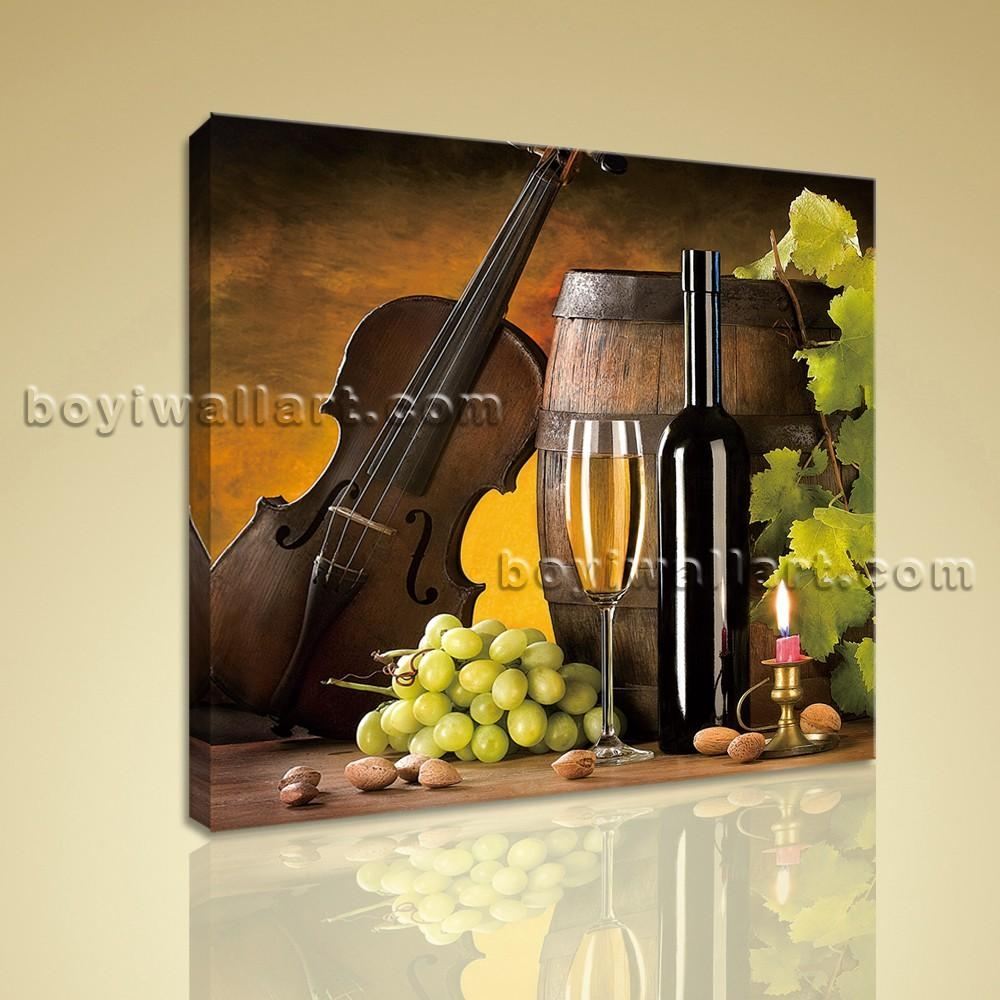 Print Abstract Painting Wall Art On Canvas Wine Food Dining Room Intended For Canvas Wall Art For Dining Room (Image 15 of 20)