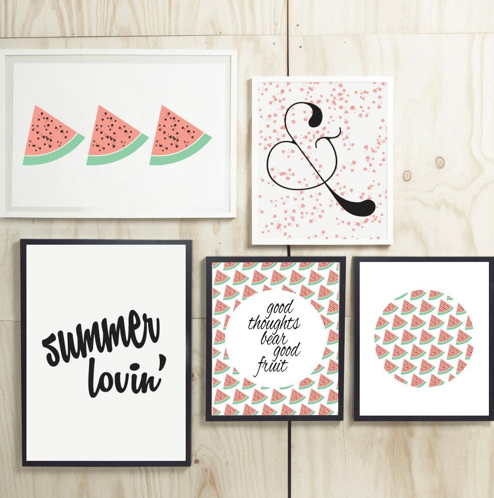 Printable Art Watermelon Summer Wall Art Collage Small Gallery In Pink And White Wall Art (Image 14 of 20)
