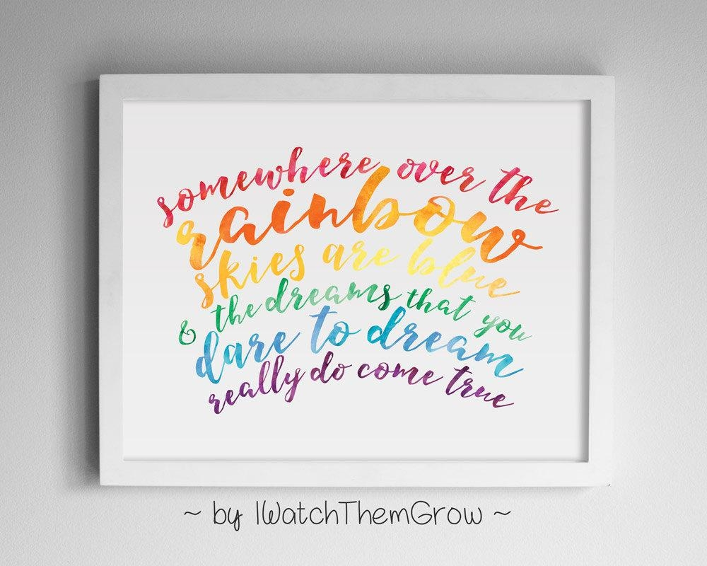 Printable Somewhere Over The Rainbow Wall Art With Wizard Of Oz Wall Art (Image 13 of 20)