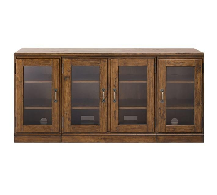 Printer's Glass Cabinet Media Stand | Pottery Barn Pertaining To Recent Wood Tv Stand With Glass (Image 17 of 20)