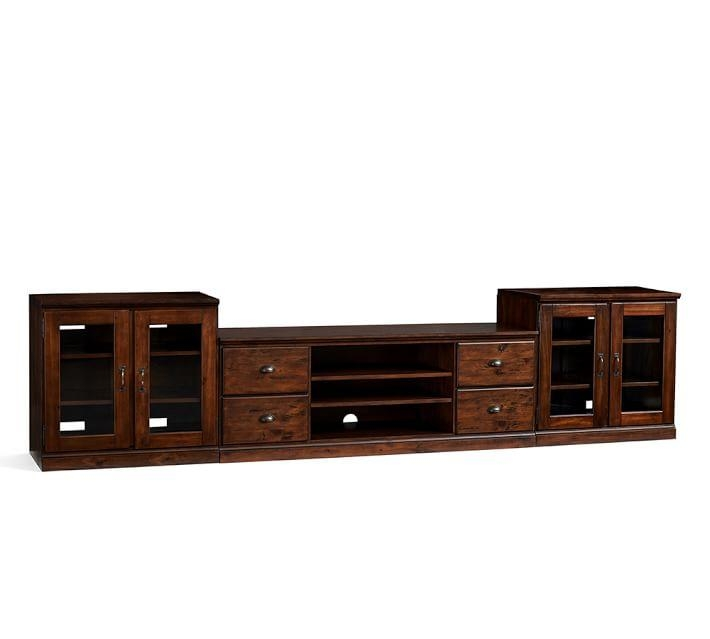 Printer's Large Tv Stand Suite With Glass Doors, Tuscan Chestnut In Current Wood Tv Stand With Glass Top (View 16 of 20)