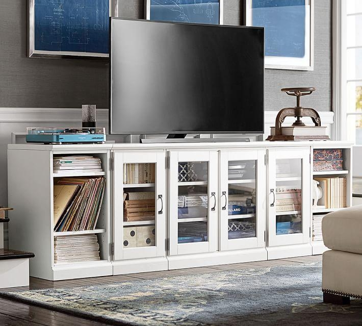 Printer's Long Low Media Stand | Pottery Barn Within Most Popular Black Tv Stand With Glass Doors (View 17 of 20)