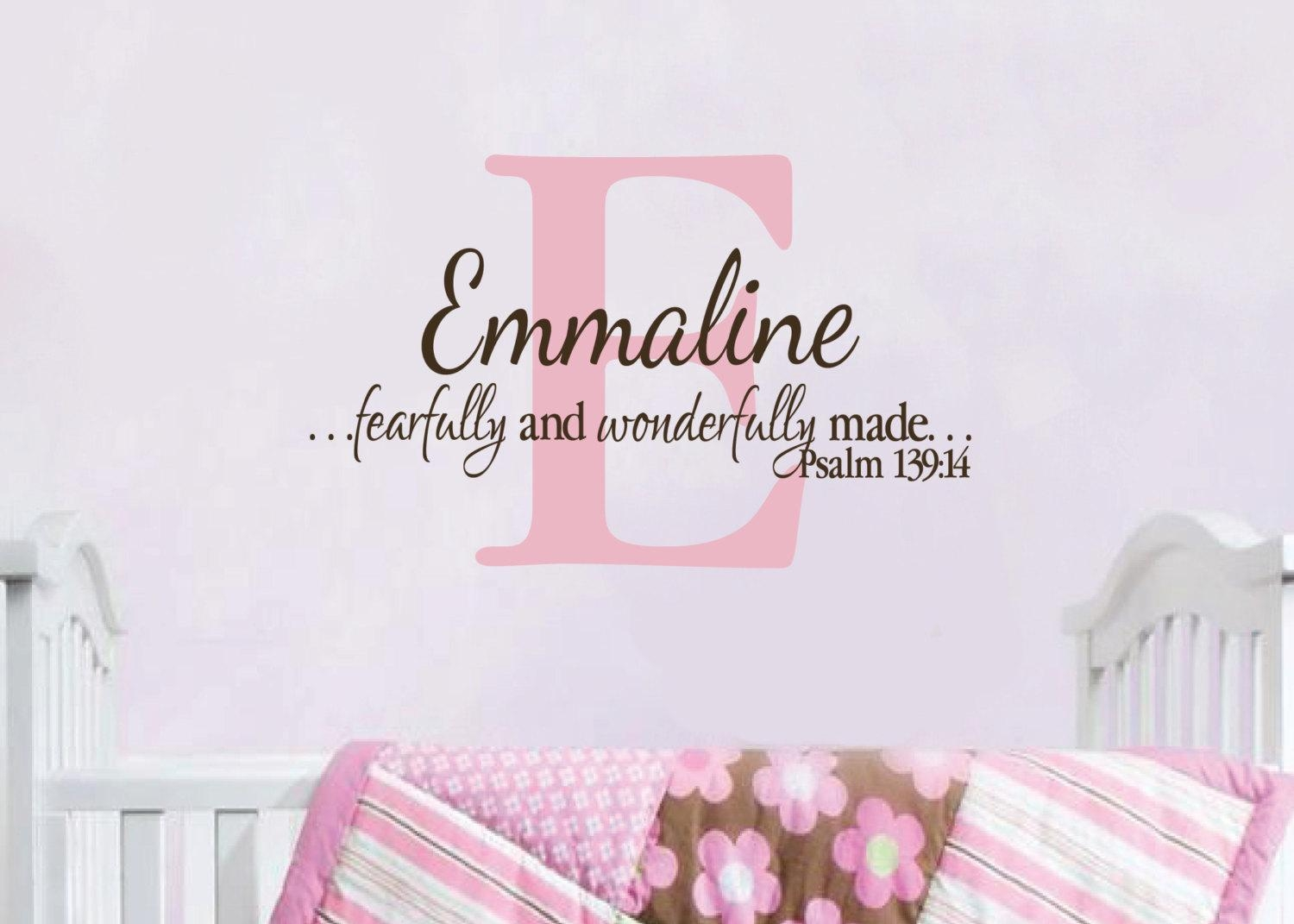 Psalm 139 :14 Personalized Monogram With Name I Am Fearfully For Fearfully And Wonderfully Made Wall Art (View 1 of 20)