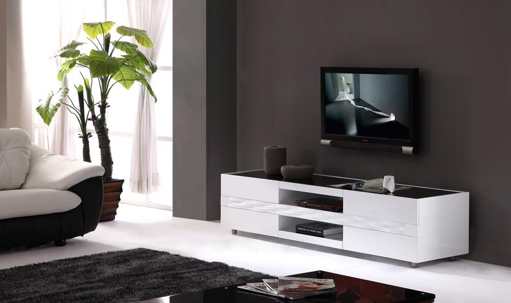 Publisher Tv Stand In High Gloss White With Black Glass Top | Bm Within 2017 Wood Tv Stand With Glass Top (Image 14 of 20)