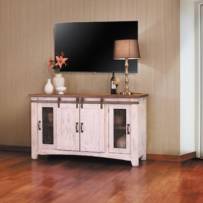 Pueblo White Barn Door Tv Stand For Newest 80 Inch Tv Stands (Image 15 of 20)
