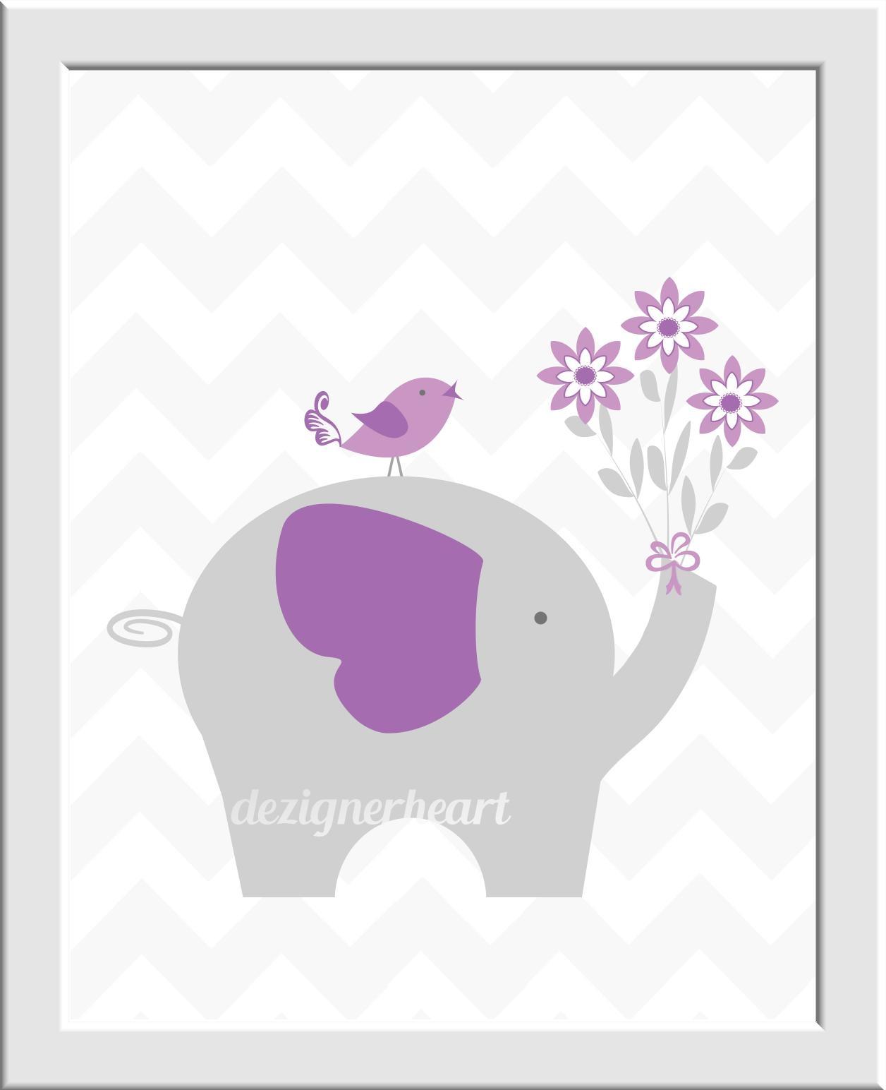 Purple Baby Nursery Wall Art Lavender Gray Elephants Safari Jungle In Elephant Wall Art For Nursery (View 17 of 20)