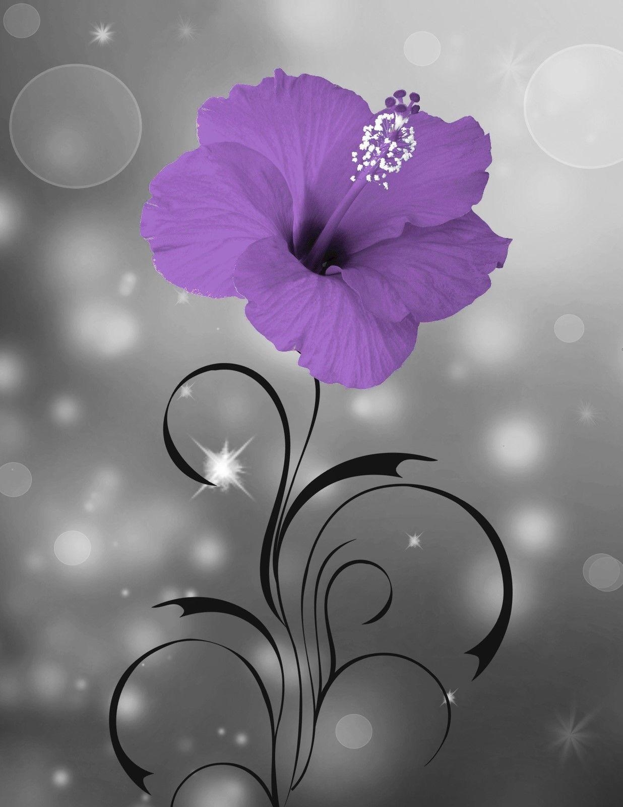 Purple Floral Home Decor Modern Bathroom Bedroom Purple Wall Art With Purple Wall Art For Bedroom (Image 14 of 20)