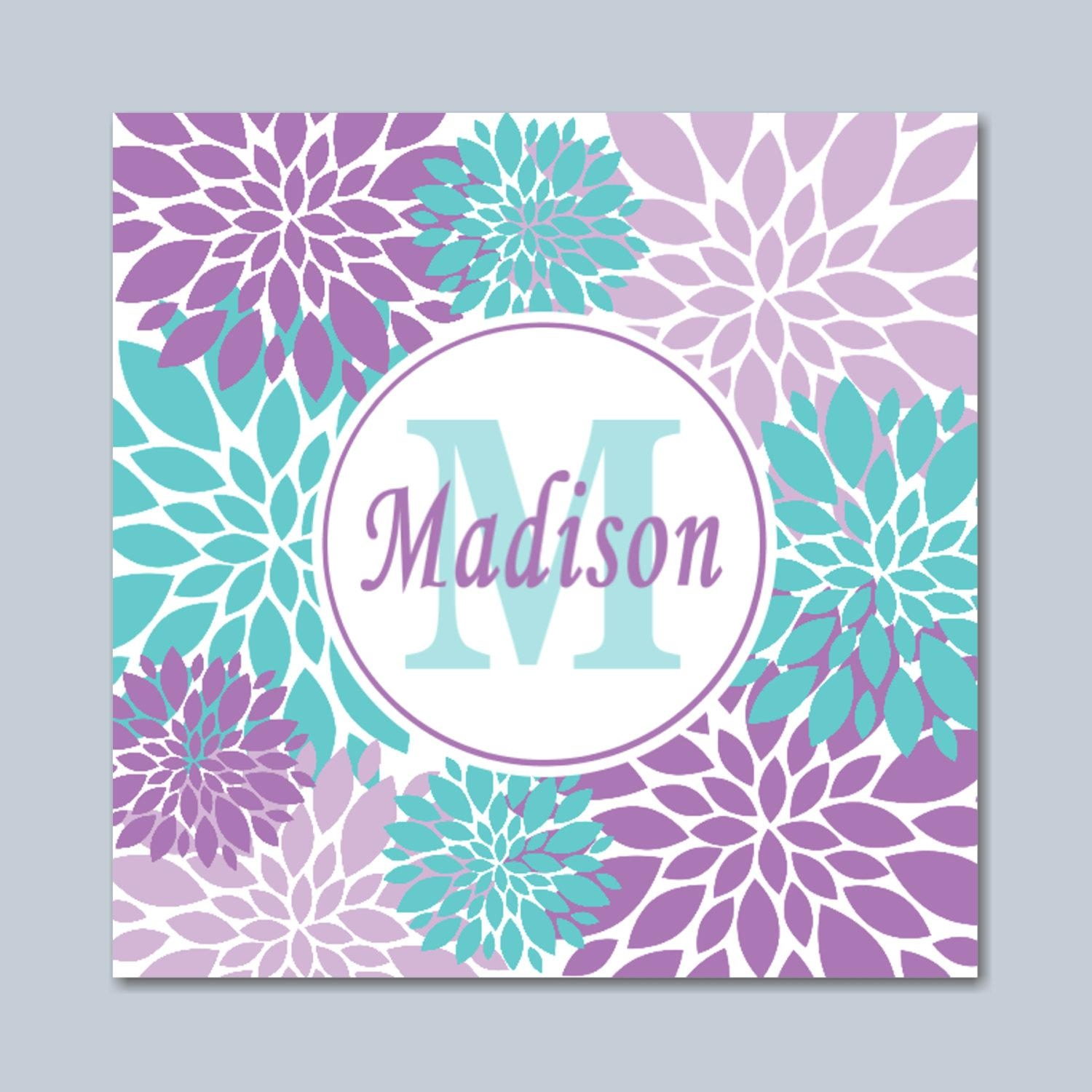 Purple Teal Wall Art Lavender Teal Floral Wall Art Lavender In Purple Wall Art For Bedroom (Image 15 of 20)