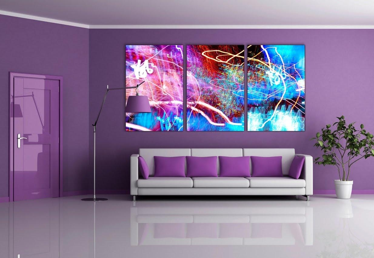 Purple Wall Paint Living Room Furniture Decor Ideas – Youtube Throughout Purple Wall Art For Bedroom (Image 17 of 20)