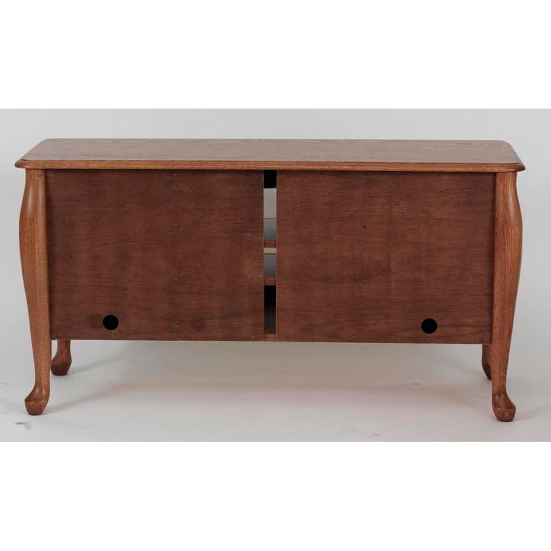 Queen Anne Solid Wood Oak Tv Cabinet W/cabinet 51″ – The Oak Within Current Oak Tv Cabinets (View 7 of 20)