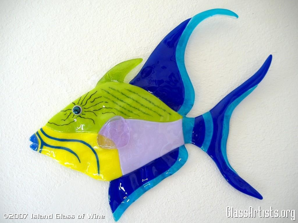 Queen Triggerfish - Glass Artists regarding Fused Glass Art for Walls