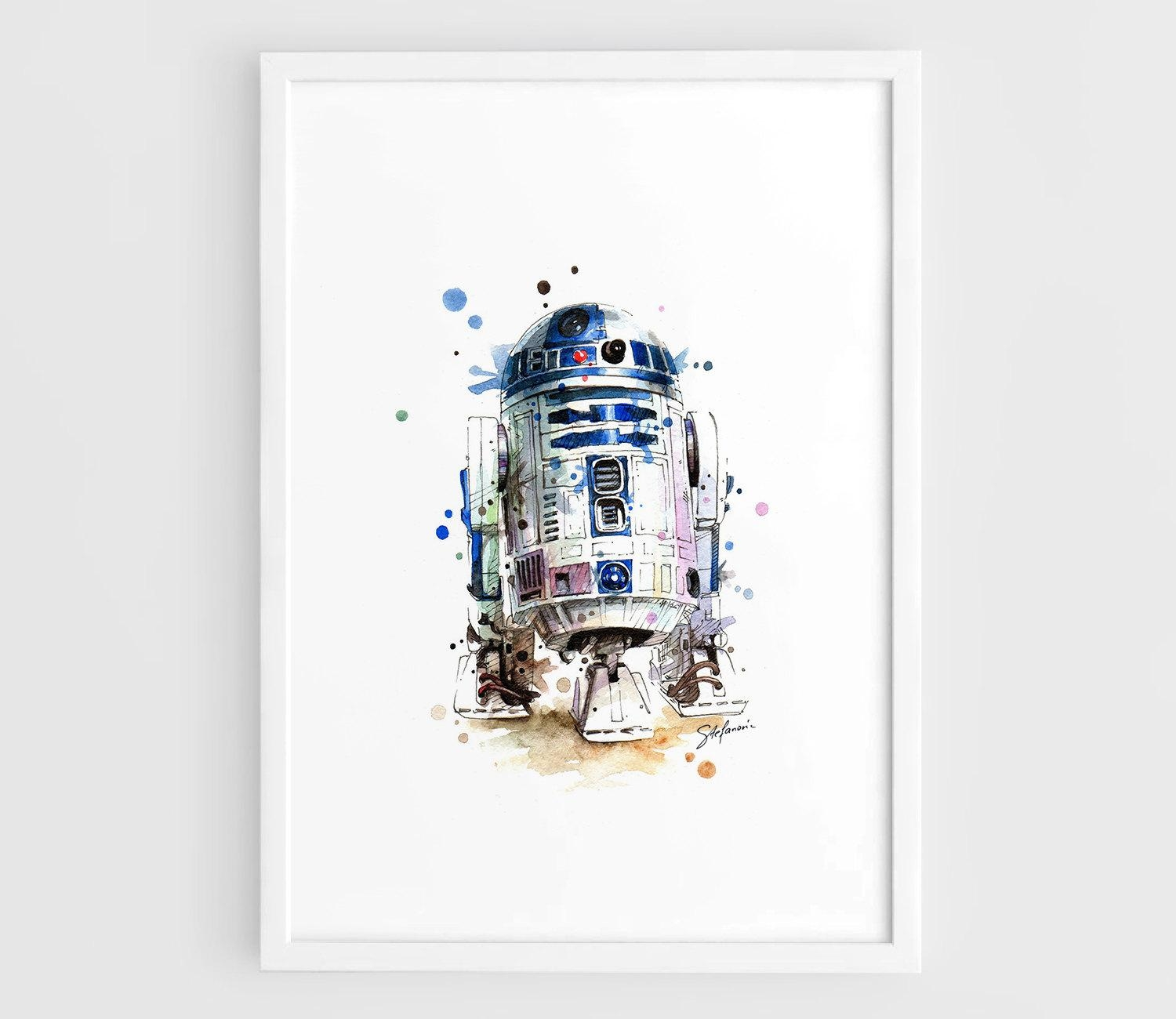 R2D2 Star Wars Movie Poster R2D2 Art Poster Star Wars Art Intended For Diy Star Wars Wall Art (Image 14 of 20)