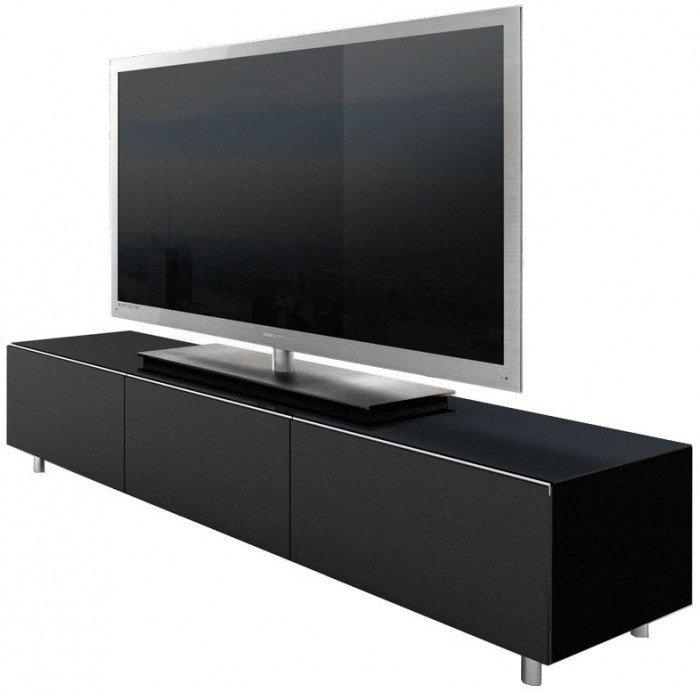 Racks Jrl1650S Gloss Black Extra Wide Tv Cabinet Regarding Most Popular Tv Units Black (Image 17 of 20)