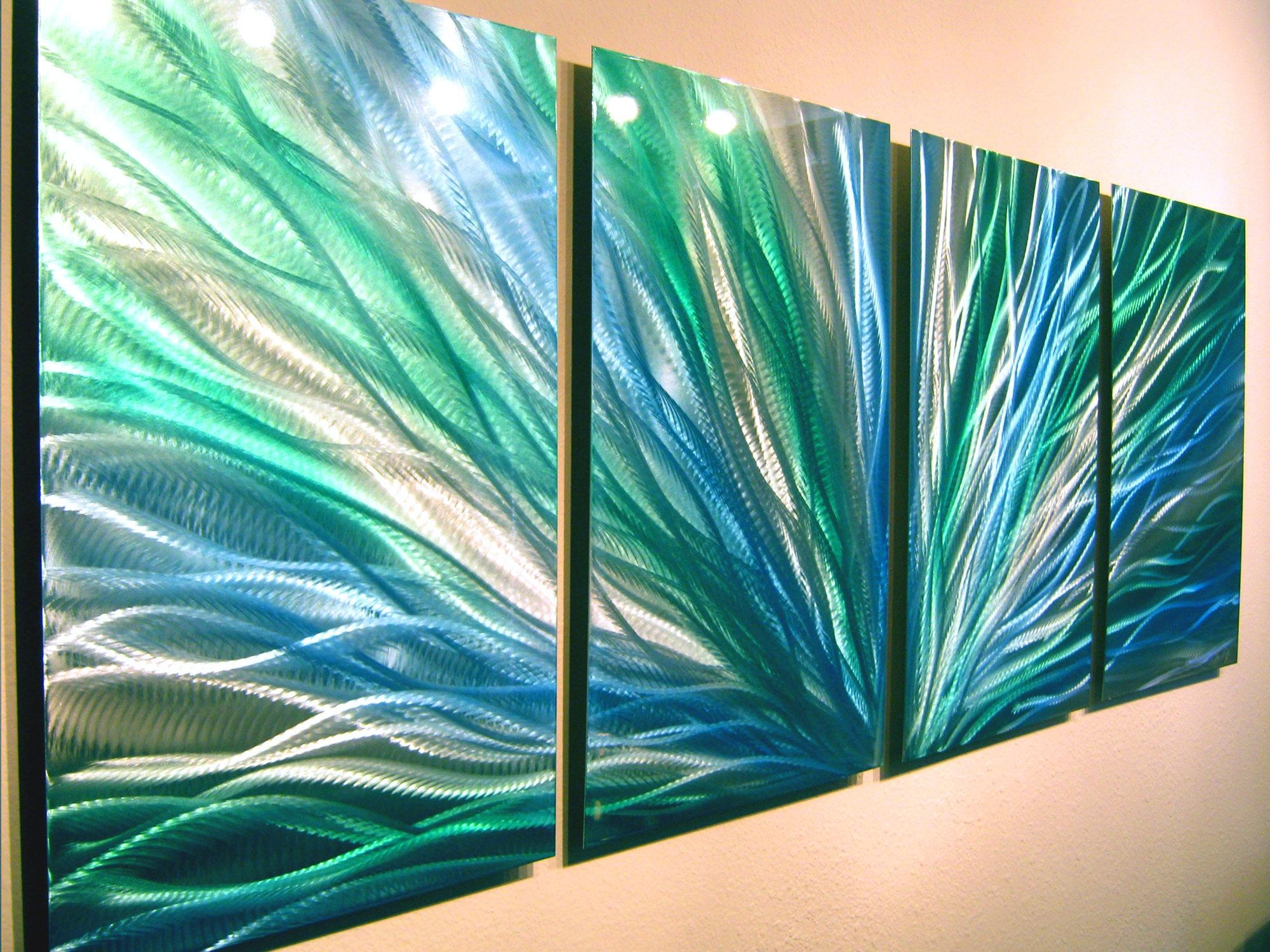 Radiance Blue Green Abstract Metal Wall Art Contemporary Modern With Teal Metal Wall Art (View 8 of 20)
