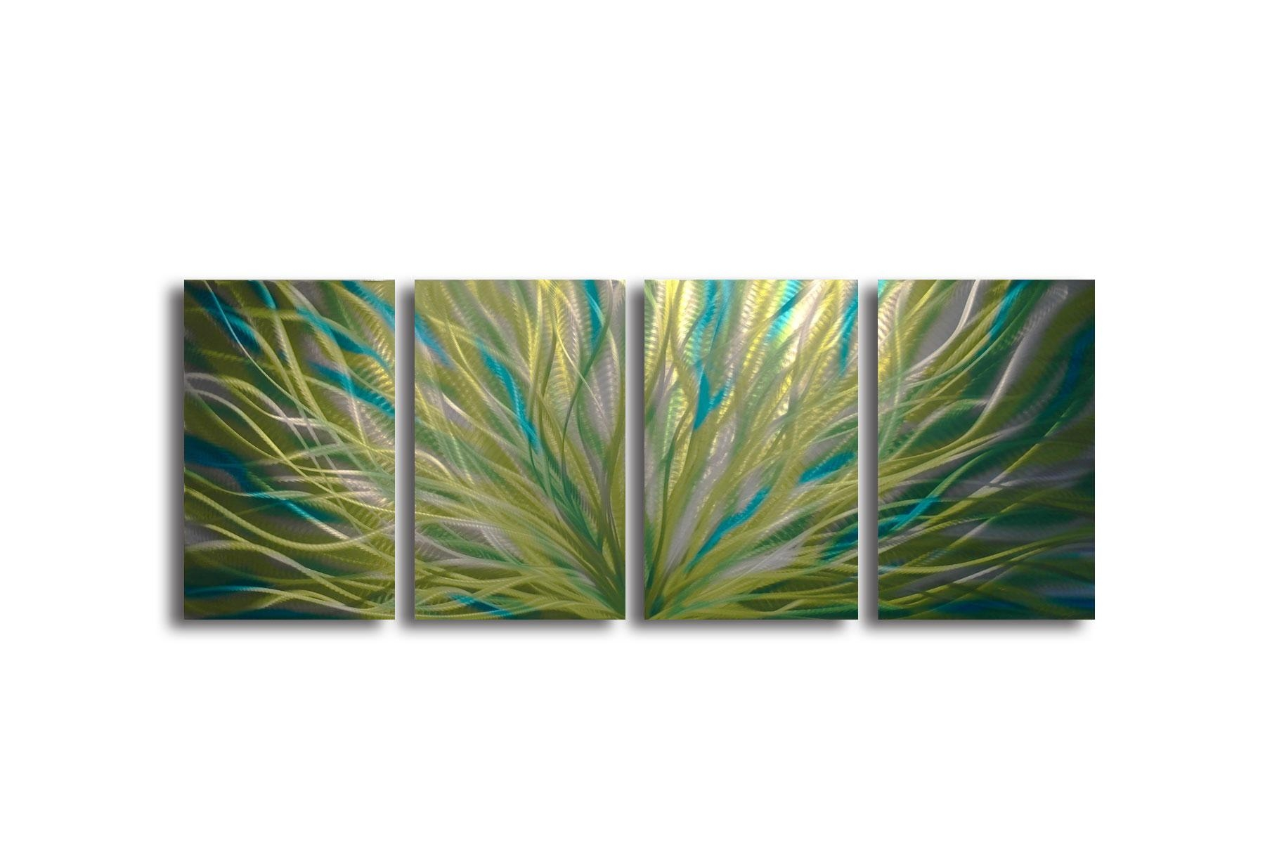 Radiance Cyan Chartreuse – Abstract Metal Wall Art Contemporary Within Turquoise Metal Wall Art (View 13 of 20)