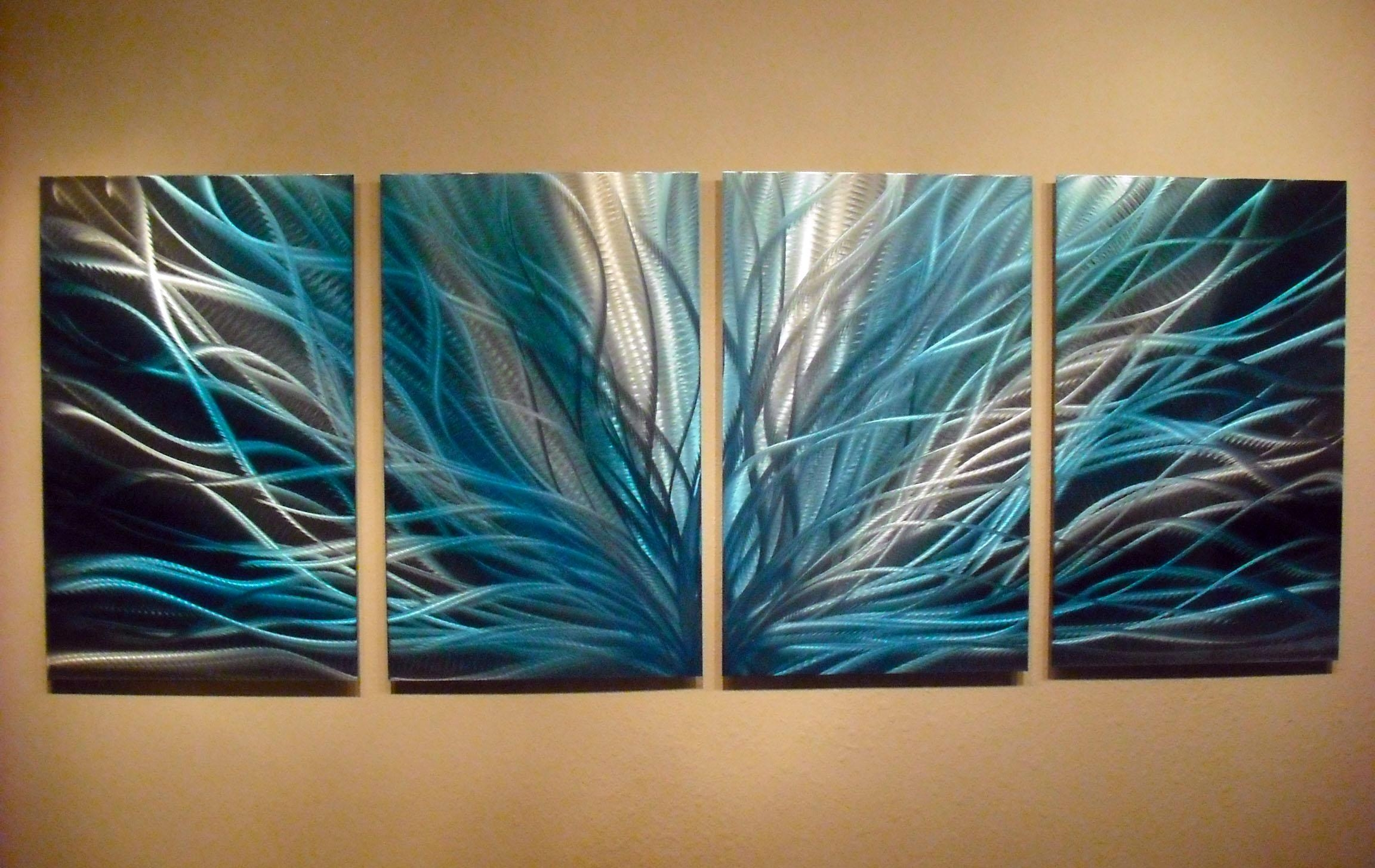 Radiance In Blues Abstract Metal Wall Art Contemporary Modern With Teal Metal Wall Art (View 2 of 20)