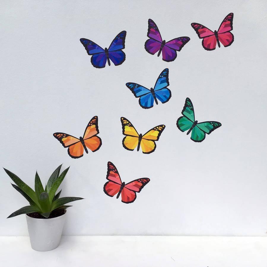 Rainbow Butterfly Wall Stickerschameleon Wall Art Inside Rainbow Butterfly Wall Art (View 8 of 20)