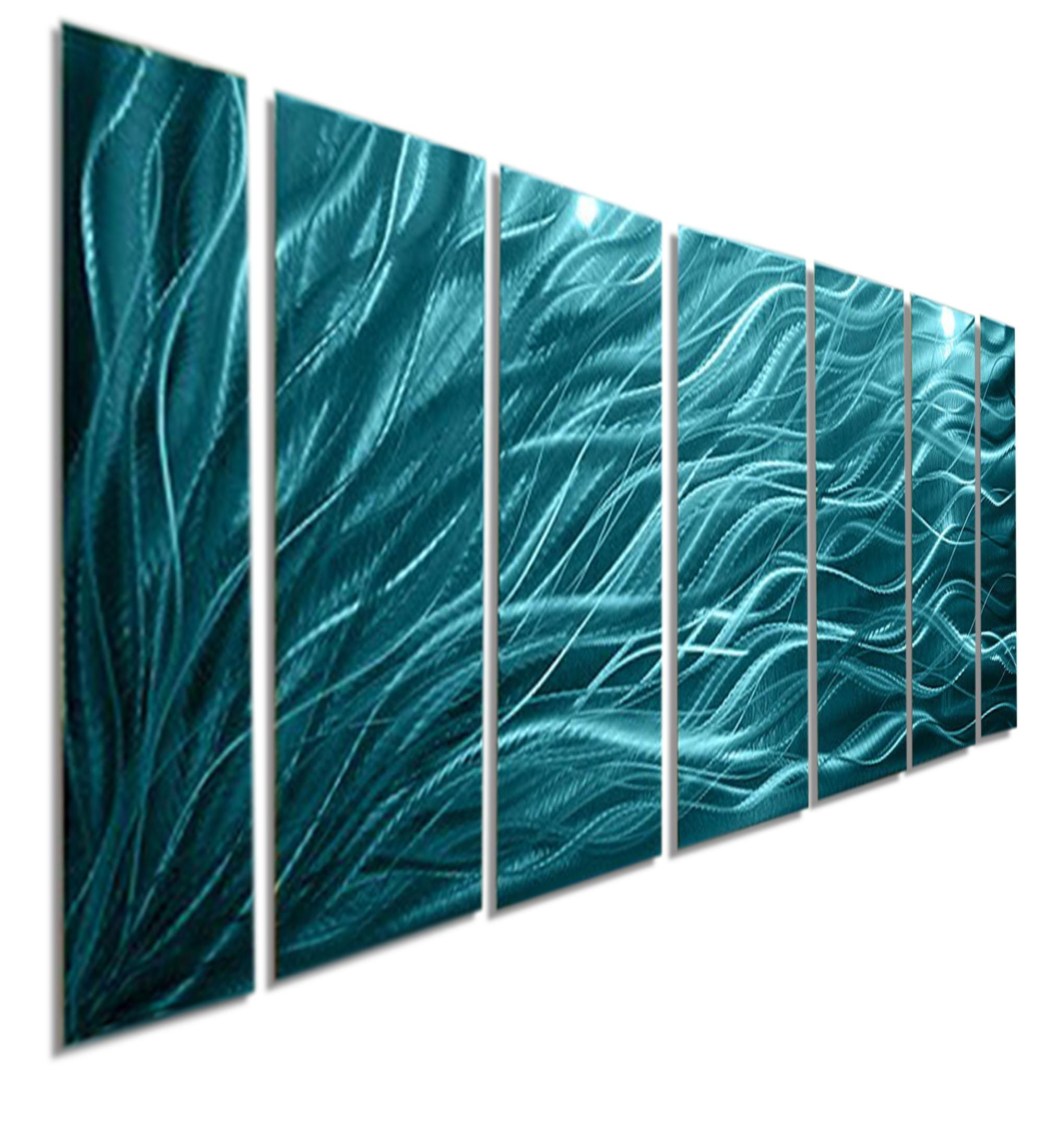 Rays Of Hope Aqua – Large Modern Abstract Metal Wall Artjon Inside Turquoise Metal Wall Art (View 9 of 20)