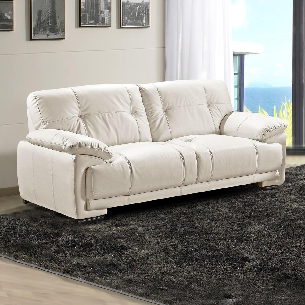 Real Leather Furniture, Volastra Real Leather Sofas In Pale Ivory Regarding Ivory Leather Sofas (View 11 of 20)