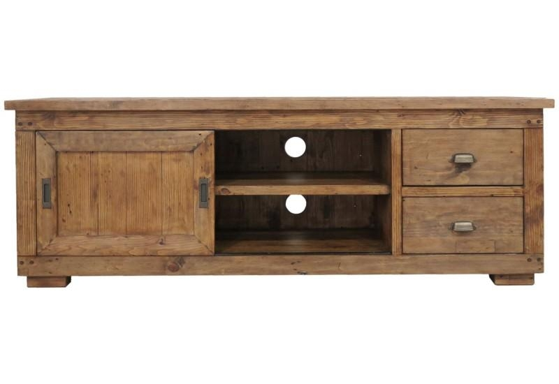 Reclaimed Pine Large Tv Cabinet – Beckenham Reproduction Furniture Throughout Most Popular Pine Tv Cabinets (Image 13 of 20)