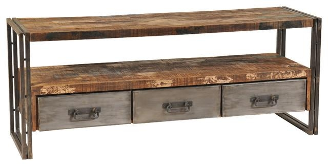 Reclaimed Wood And Metal Plasma Tv Stand – Industrial Regarding Newest Metal And Wood Tv Stands (View 3 of 20)