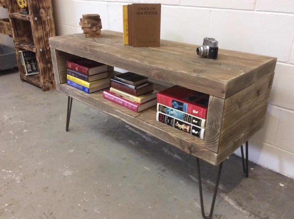 Reclaimed Wood Tv Stand And Bookshelf | Diy And Crafts Regarding Most Up To Date Hairpin Leg Tv Stands (View 14 of 20)