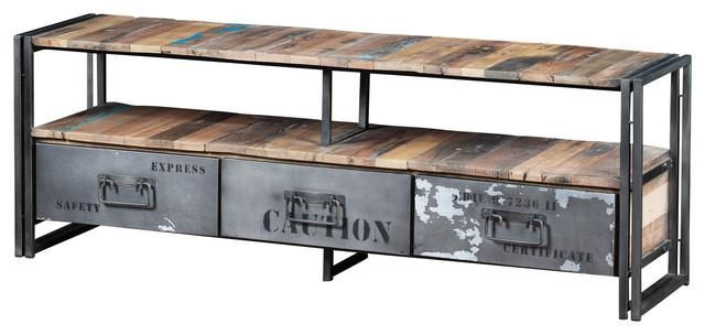 Recycled Boat Wood And Industrial Metal 3 Drawer Tv Console Throughout Latest Industrial Metal Tv Stands (Image 17 of 20)