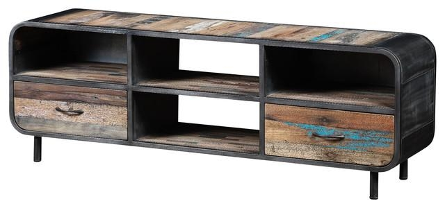 Recycled Boat Wood And Metal Industrial Tv Unit – Industrial With Regard To Most Recent Wood Tv Entertainment Stands (View 15 of 20)