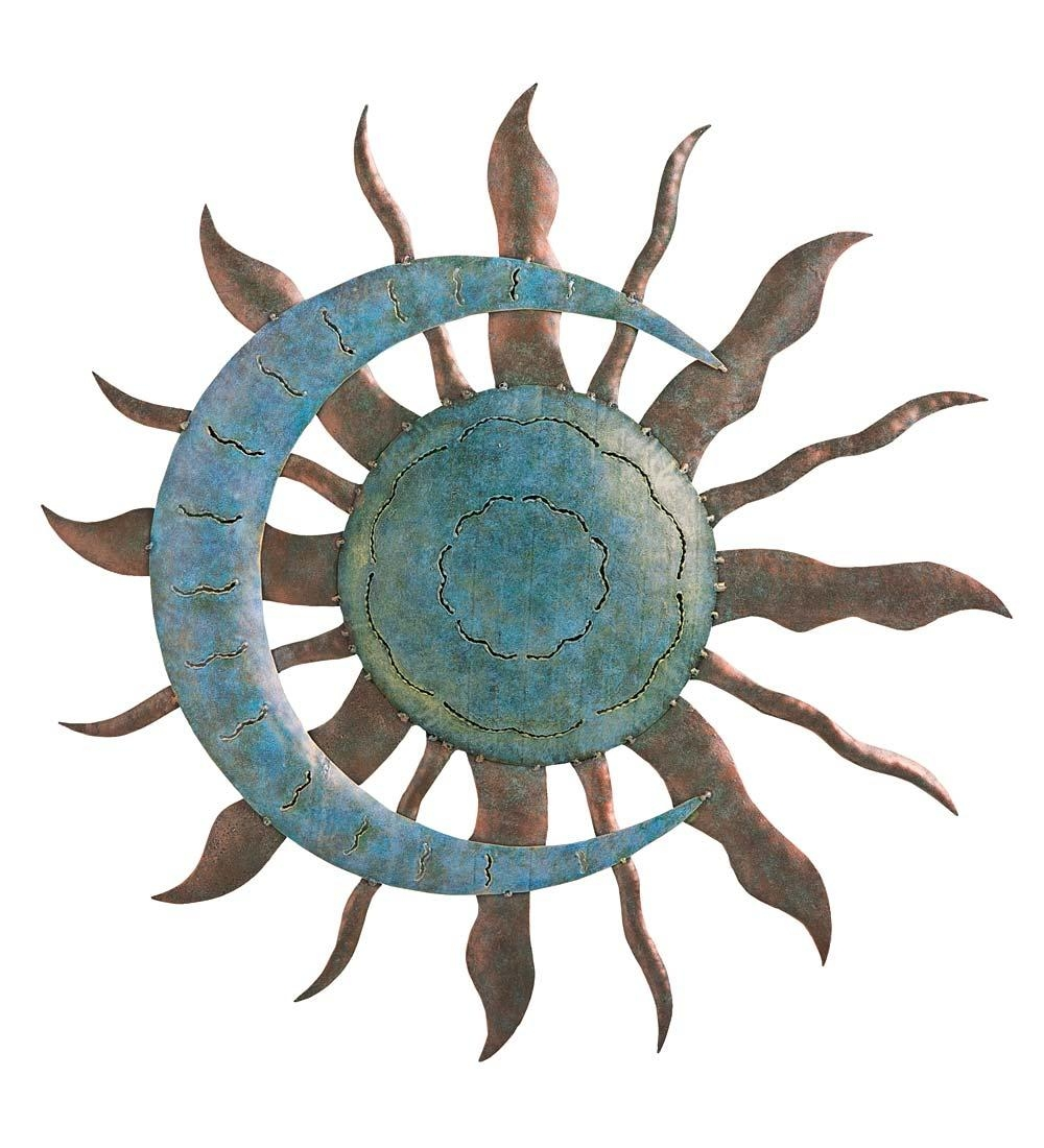 Recycled Metal Moon And Sun Wall Art In Metal Garden Wall Art In Large Metal Sun Wall Art (View 2 of 20)