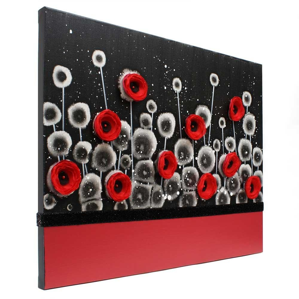 Red And Black Wall Art Poppy Flower Painting Canvas – Small | Amborela Within Red And Black Canvas Wall Art (Image 18 of 20)