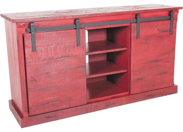 "Red Barn Door Tv Stand 65"" Length – Rustic – Entertainment Centers Regarding Most Recently Released Rustic Red Tv Stands (Image 13 of 20)"