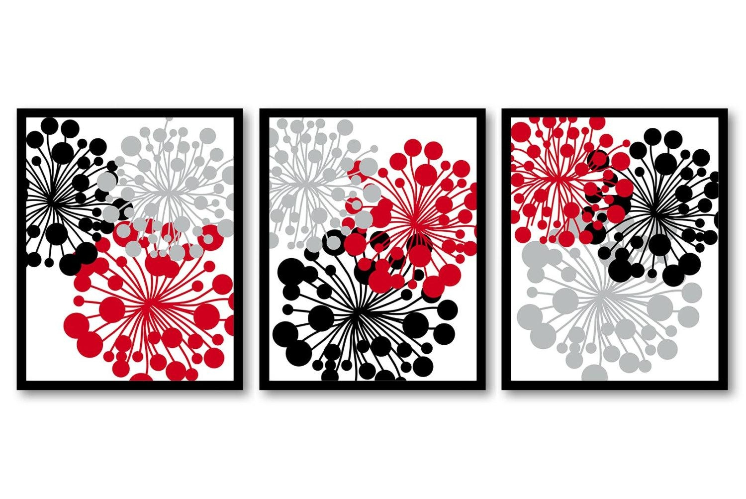 Red Black Gray Grey White Flower Print Flowers Dandelion Set With Regard To Red Bathroom Wall Art (View 18 of 20)