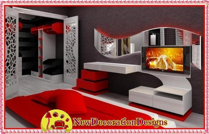 Red Black Tv Wall Unit Designs And Fresh Tv Unit Colors | New Regarding Latest Red Tv Units (Image 13 of 20)