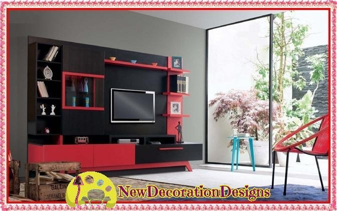 Red Black Tv Wall Unit Designs And Fresh Tv Unit Colors | New With 2017 Red Tv Units (Image 14 of 20)
