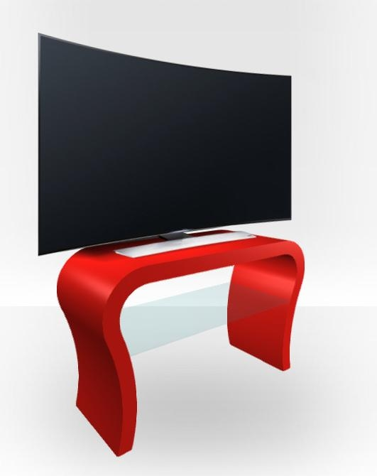 Red Gloss Tv Stand – Curved – Free Uk Delivery – Zespoke With Regard To Most Current Red Gloss Tv Cabinet (View 12 of 20)