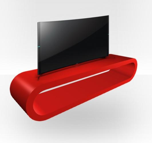 Red Gloss Tv Stand – Zestretch Hoop – Free Uk Delivery – Zespoke Pertaining To Most Up To Date Red Gloss Tv Cabinet (Image 15 of 20)