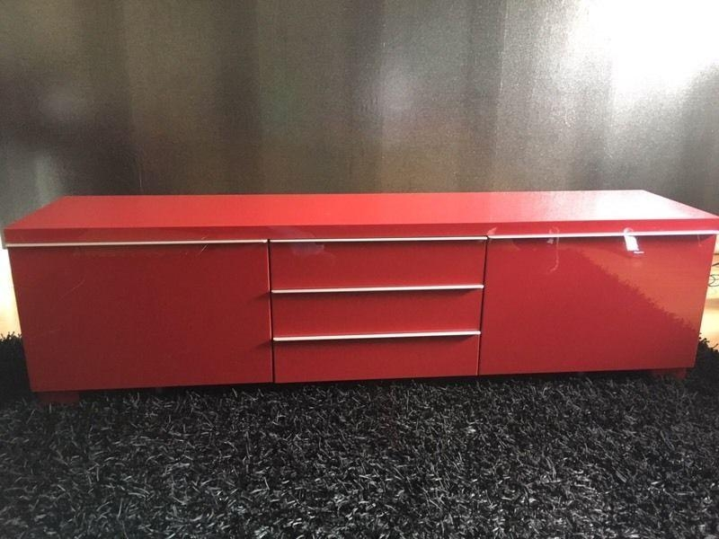 Red Ikea High Gloss Tv Stand | In East Kilbride, Glasgow | Gumtree With Regard To Latest Red Gloss Tv Cabinet (Image 16 of 20)