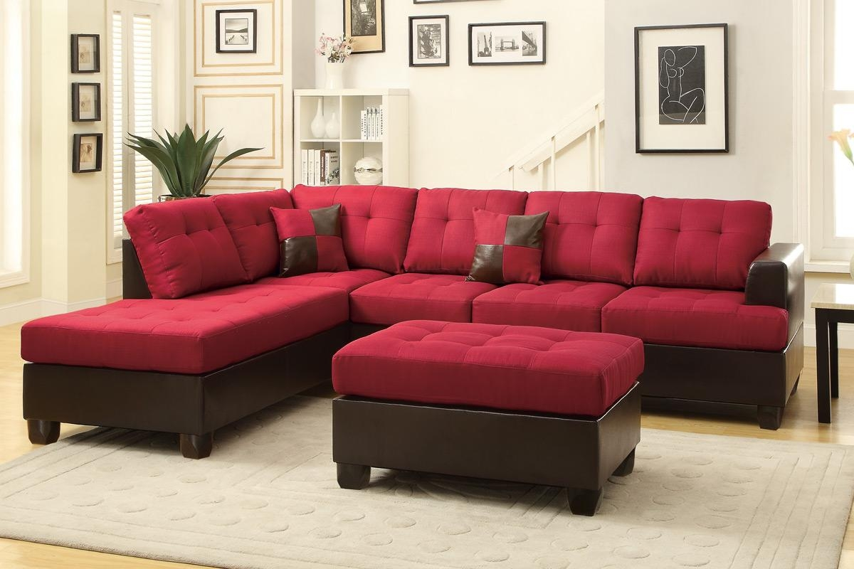Red Leather Sectional Sofa And Ottoman – Steal A Sofa Furniture With Red Microfiber Sectional Sofas (View 7 of 21)