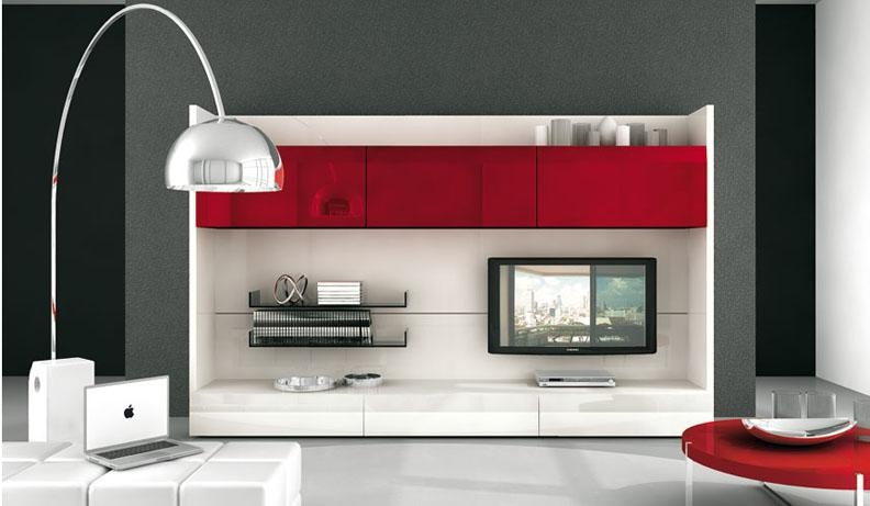 Red Plastic Tv Wall Mnt Contemporary White Table And Apple Macbook Intended For Newest Red Tv Units (Image 16 of 20)