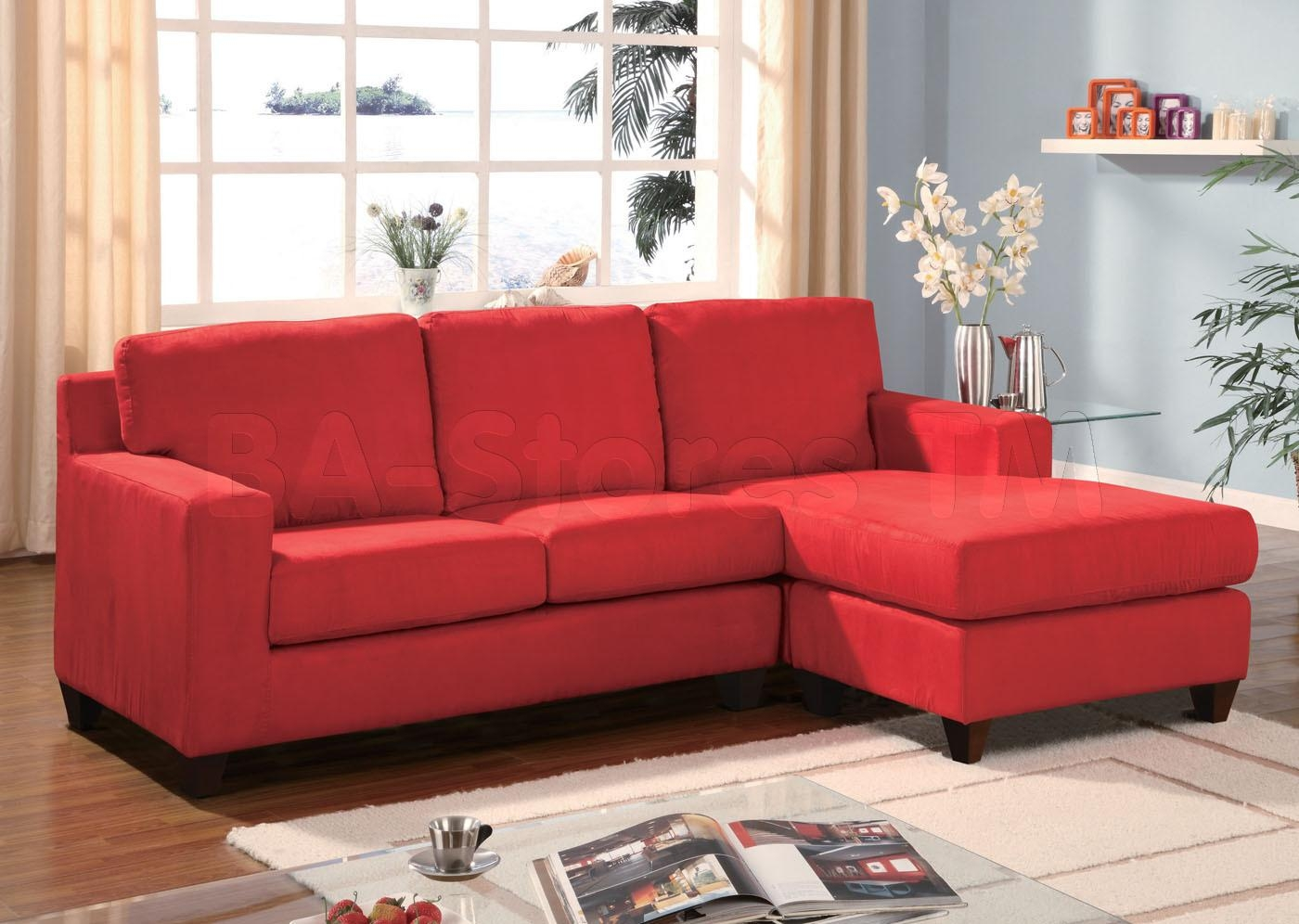 Red Sectional Sofa Microfiber | Centerfieldbar In Red Microfiber Sectional Sofas (Image 12 of 21)