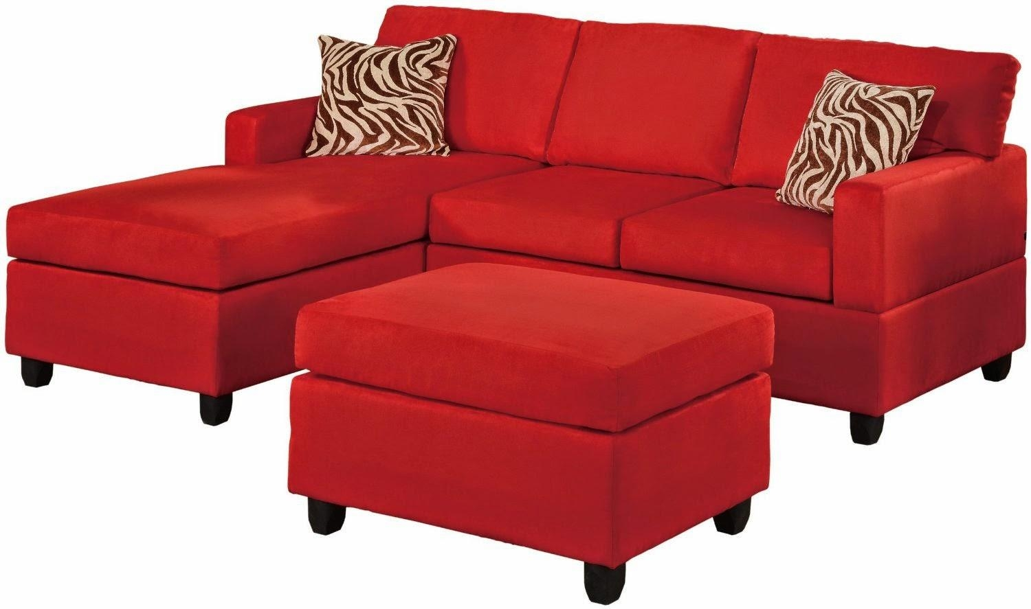 Red Sectional Sofas Cheap | Centerfieldbar Within Red Microfiber Sectional Sofas (Image 15 of 21)