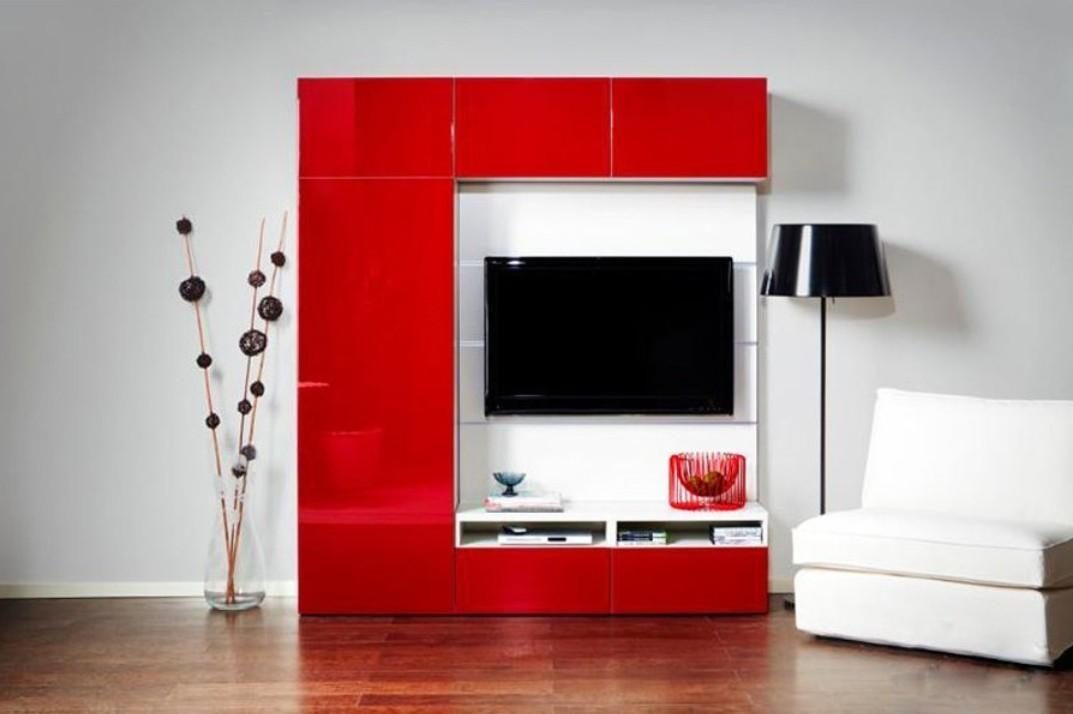 Red Tv Cabinet With Gray Walls | Interior Design Throughout Newest Red Tv Cabinets (Image 15 of 20)