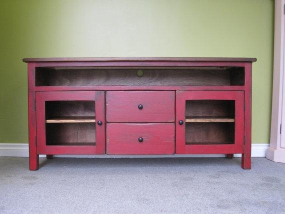 Red Tv Stand / Wooden 60 Long Tv Console / Cottage For Most Up To Date Red Tv Stands (View 5 of 20)