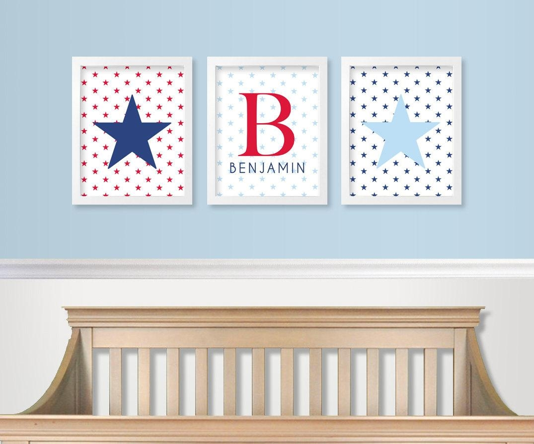 Red White And Blue Nursery Decor Military Baby Nursery For Red White And Blue Wall Art (Photo 9 of 20)