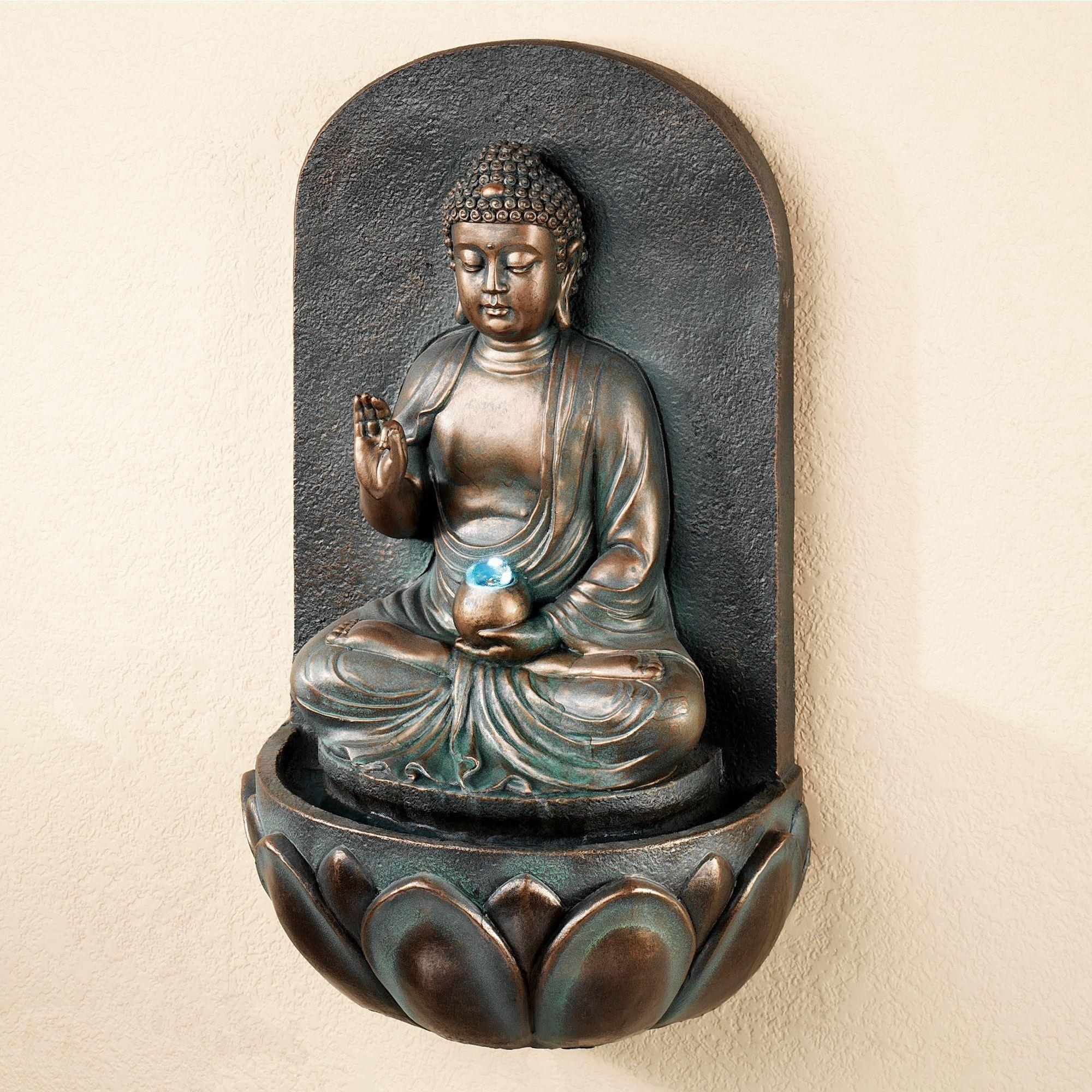 Reflecting Buddha Indoor Outdoor Wall Water Fountain Intended For Buddha Outdoor Wall Art (Image 15 of 20)
