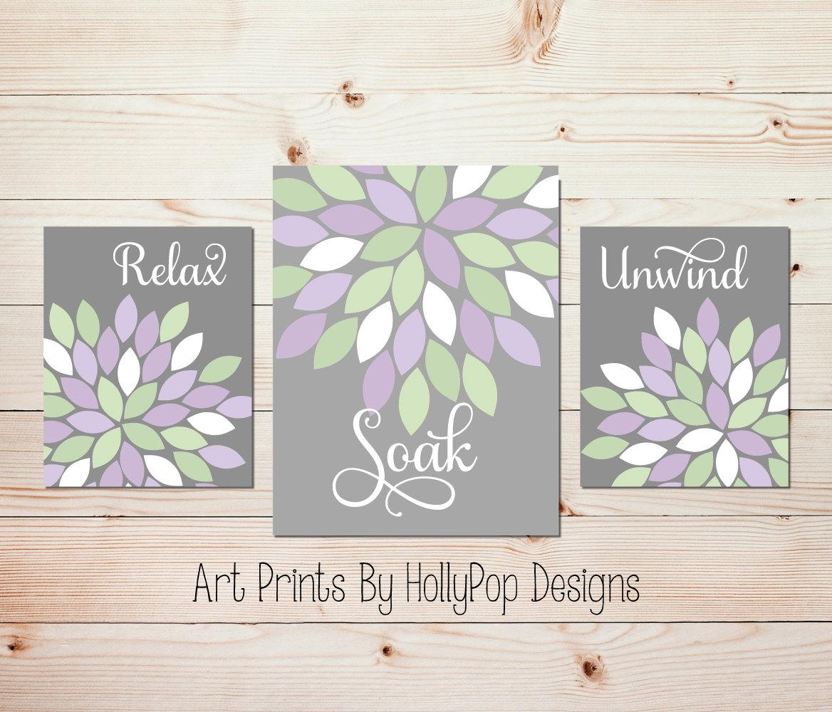 Relax Soak Unwind Bathroom Wall Art Dahlia Bathroom Decor For Purple Bathroom Wall Art (View 1 of 20)