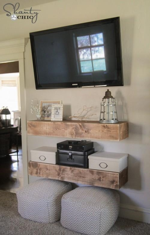 Remodelaholic | 95 Ways To Hide Or Decorate Around The Tv For Recent Shelves For Tvs On The Wall (View 17 of 20)