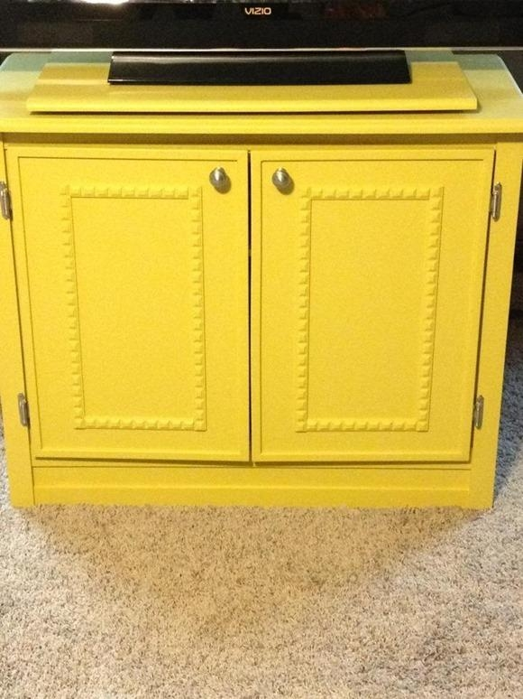 Repurposed Console Tv Intended For Most Up To Date Yellow Tv Stands (View 18 of 20)