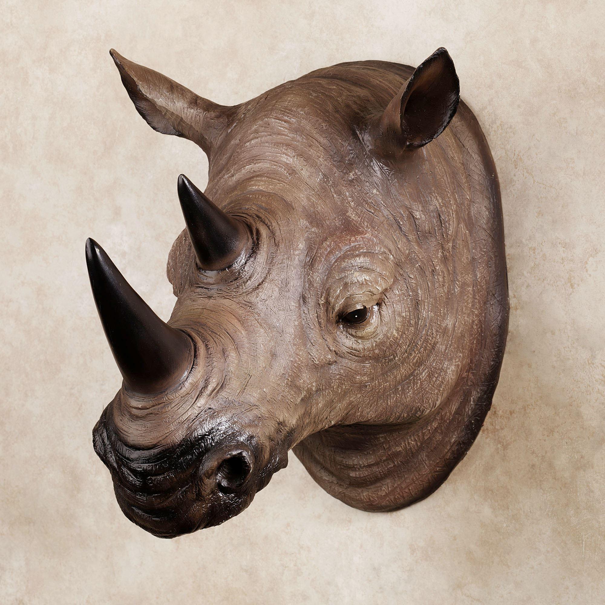 Resin Rhinoceros Head Wall Art Intended For Resin Animal Heads Wall Art (Image 11 of 20)